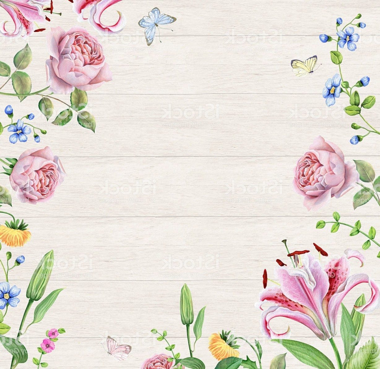 Watercolor Floral Background Vector: Frame With Watercolor Flowers On Wooden Background Gm