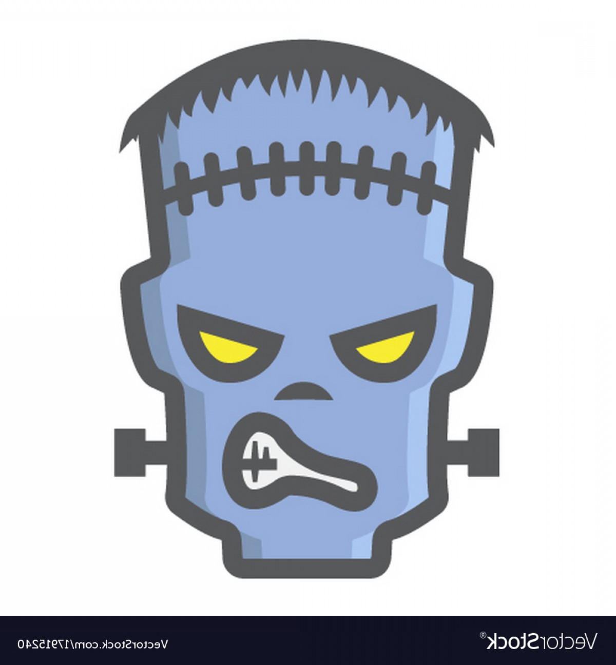Frankenstein Vector Poster: Frankenstein Filled Outline Icon Halloween Scary Vector