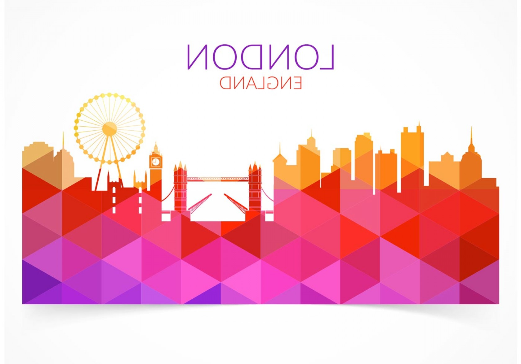 Free Abstract Vector Art: Free Abstract Colorful London Cityscape Vector
