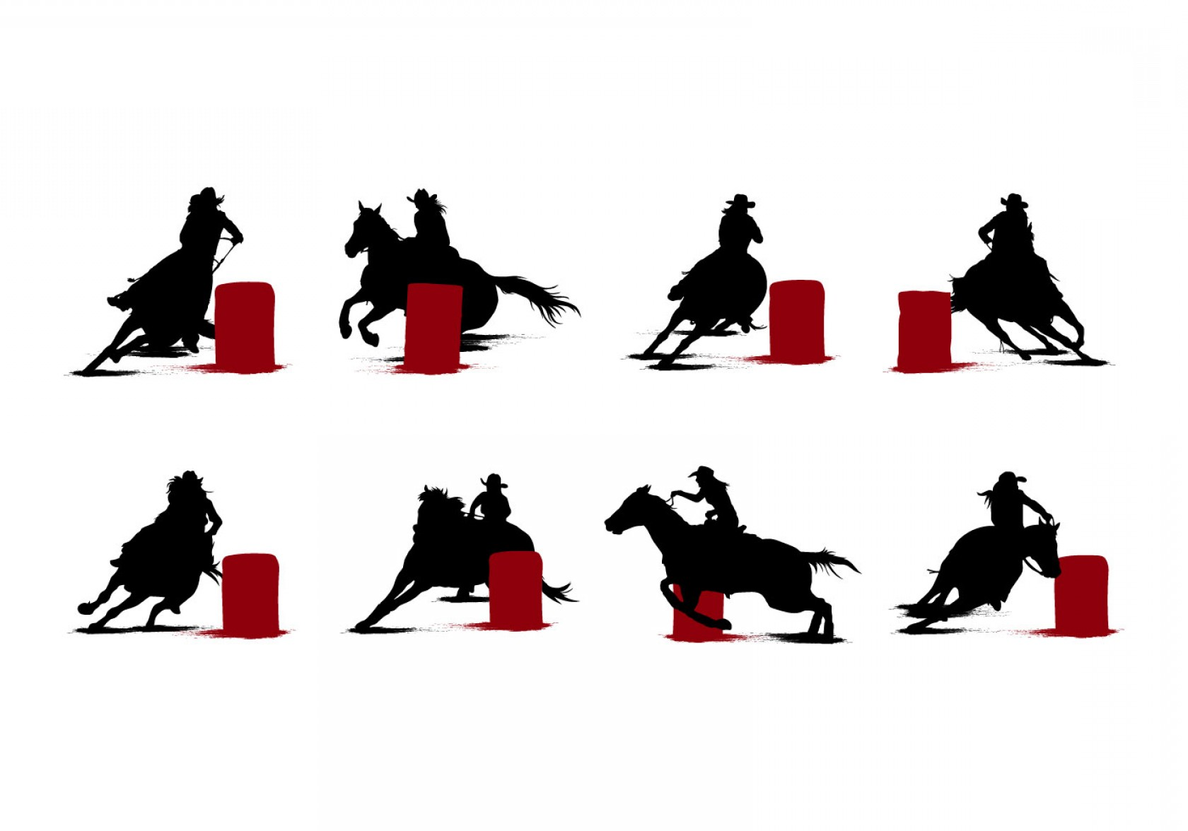 Barrel Racer Vector: Free Barrel Racing Silhouettes Vector