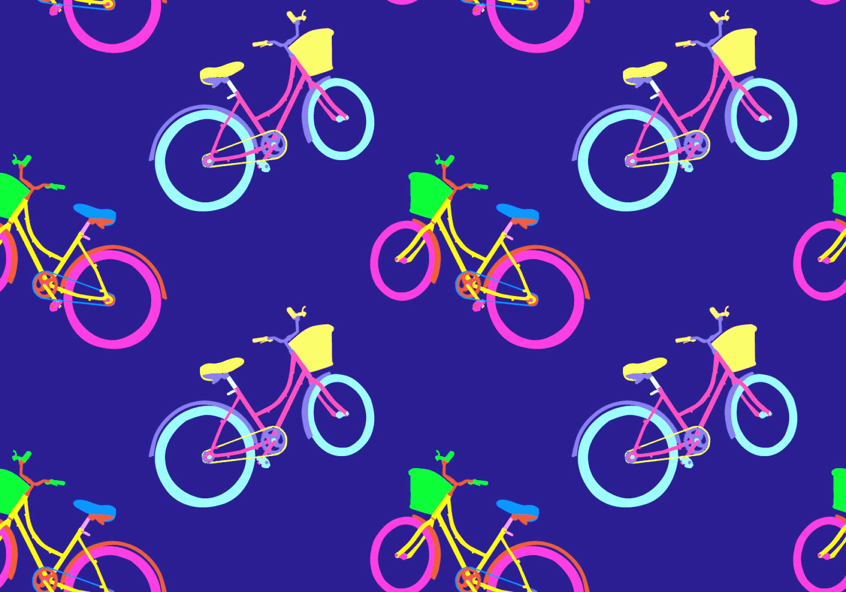 Bicycle Vector Artwork Of Patterns: Free Bicicleta Seamless Pattern Vector Illustration