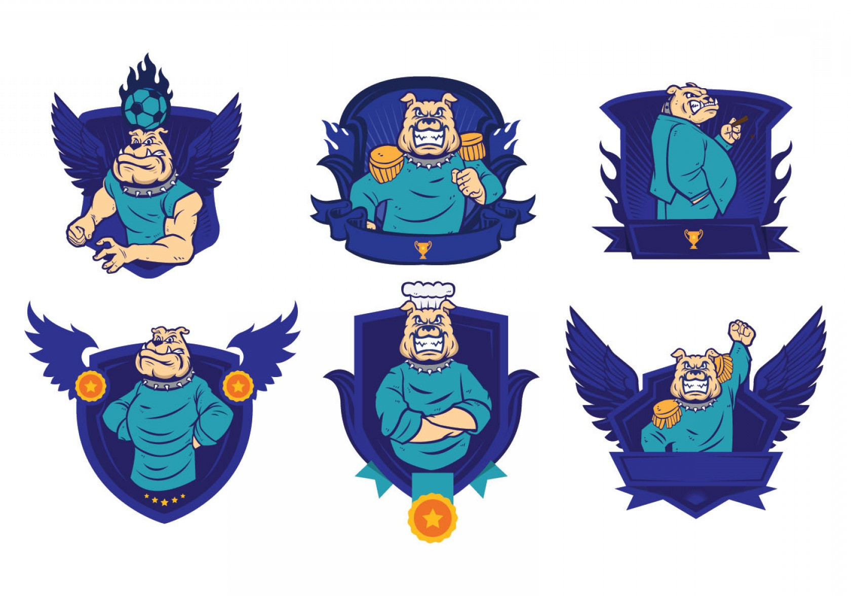 Bulldog Vector Art: Free Bulldog Badges Logo Vector