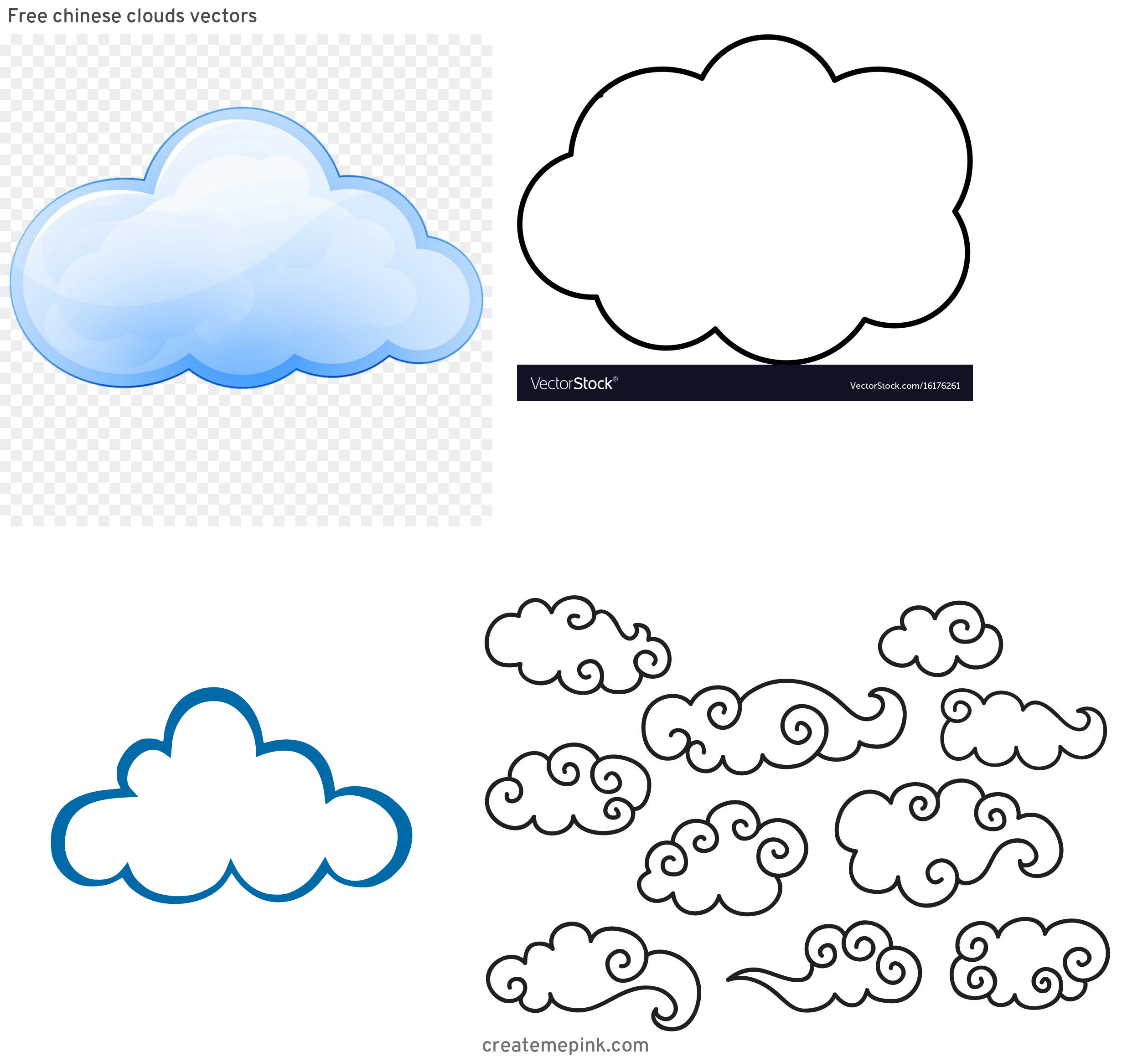Cloud Clip Art Vector: Free Chinese Clouds Vectors