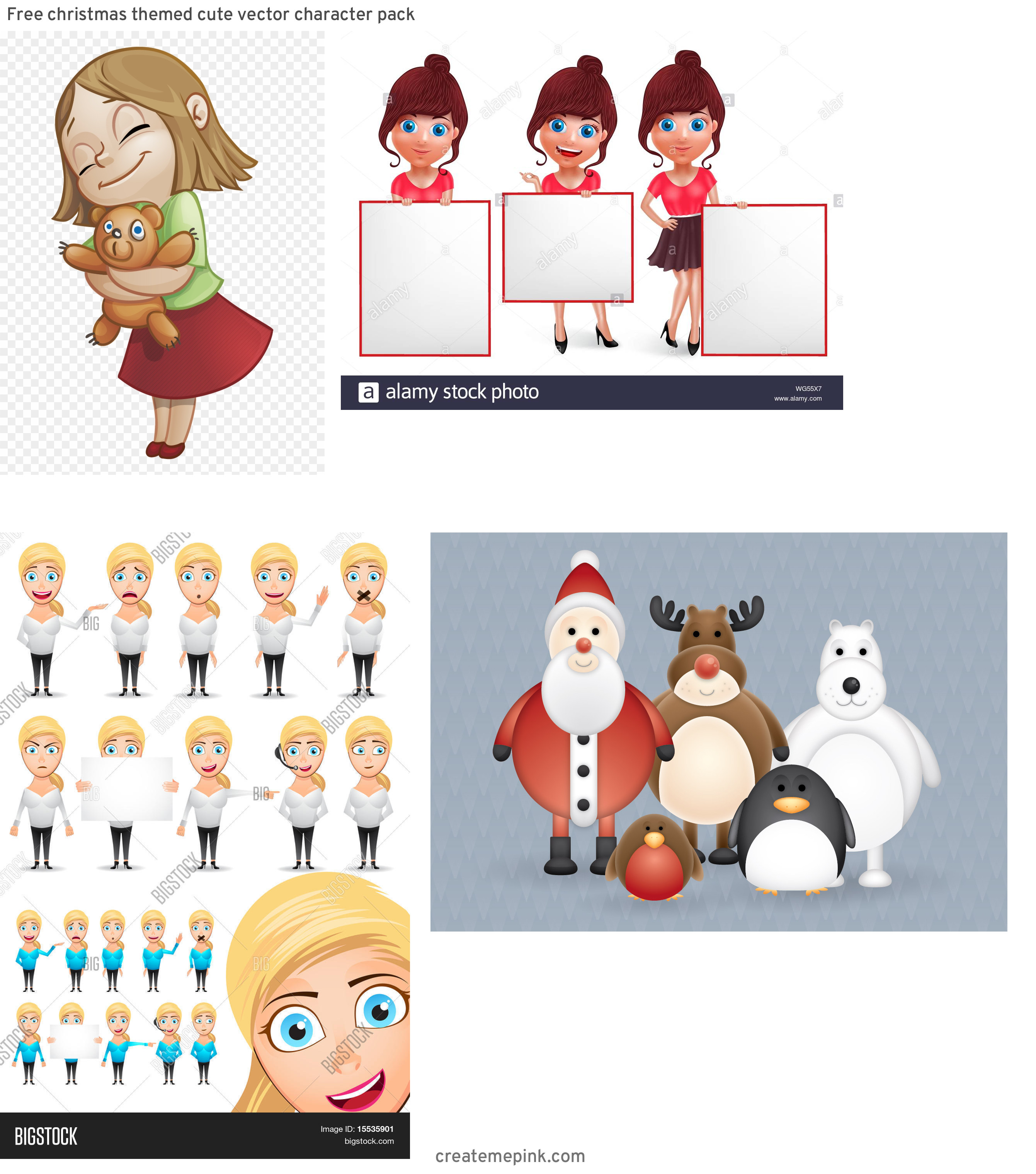Vute Vector Character: Free Christmas Themed Cute Vector Character Pack