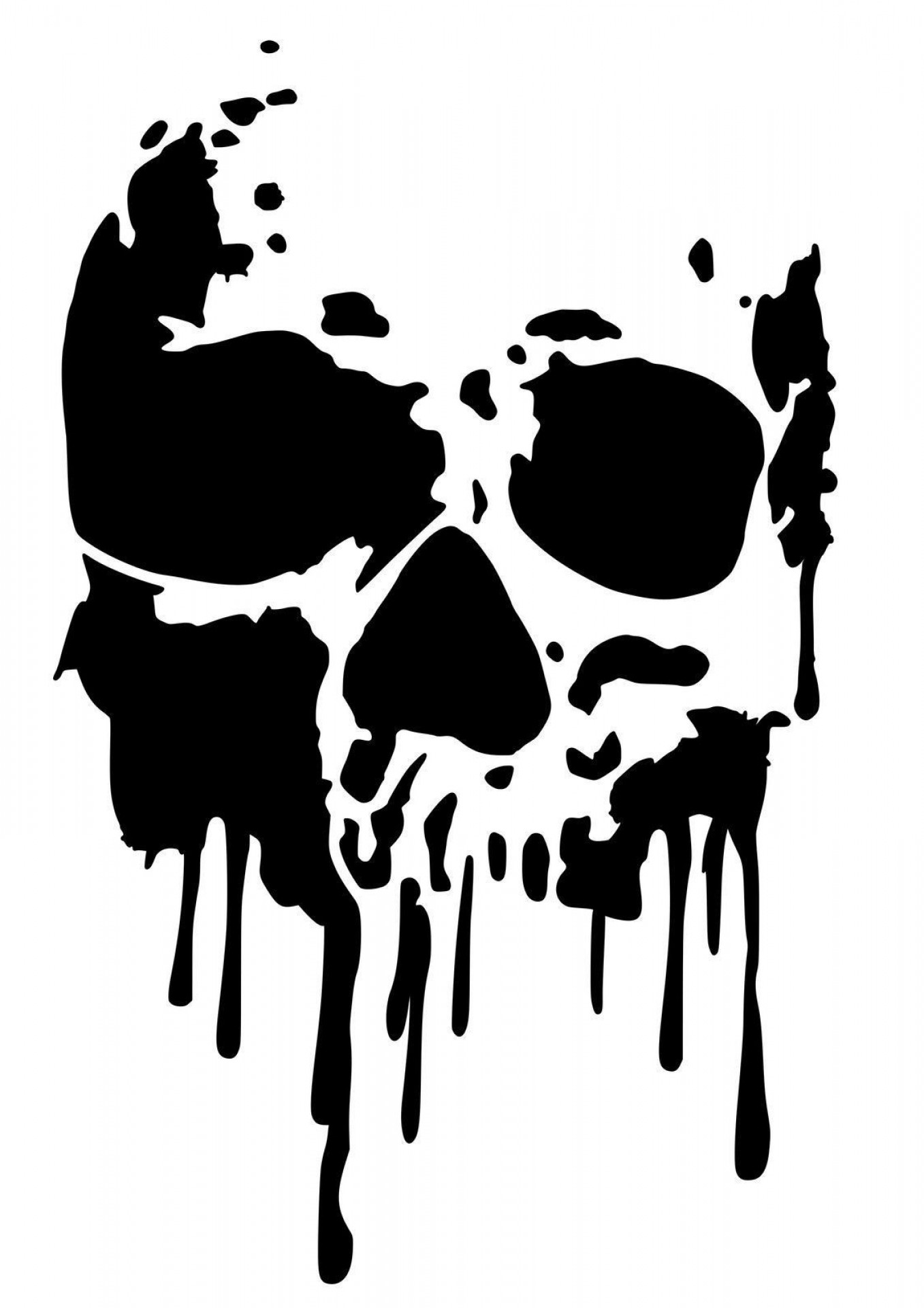 Airbrush Stencil Art Vector: Free Clip Art Uk High Detail Dripping Skull Airbrush Stencil Postage For Of