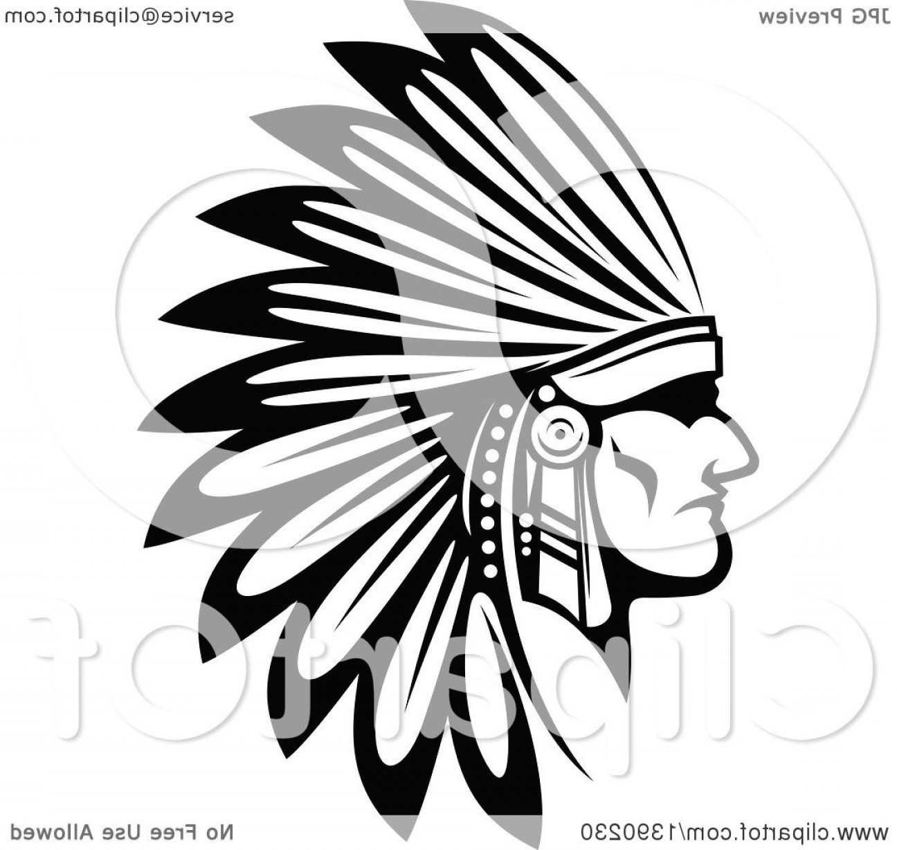 Warrior Vector Art: Free Clipart Of Indian Warrior Head Vector