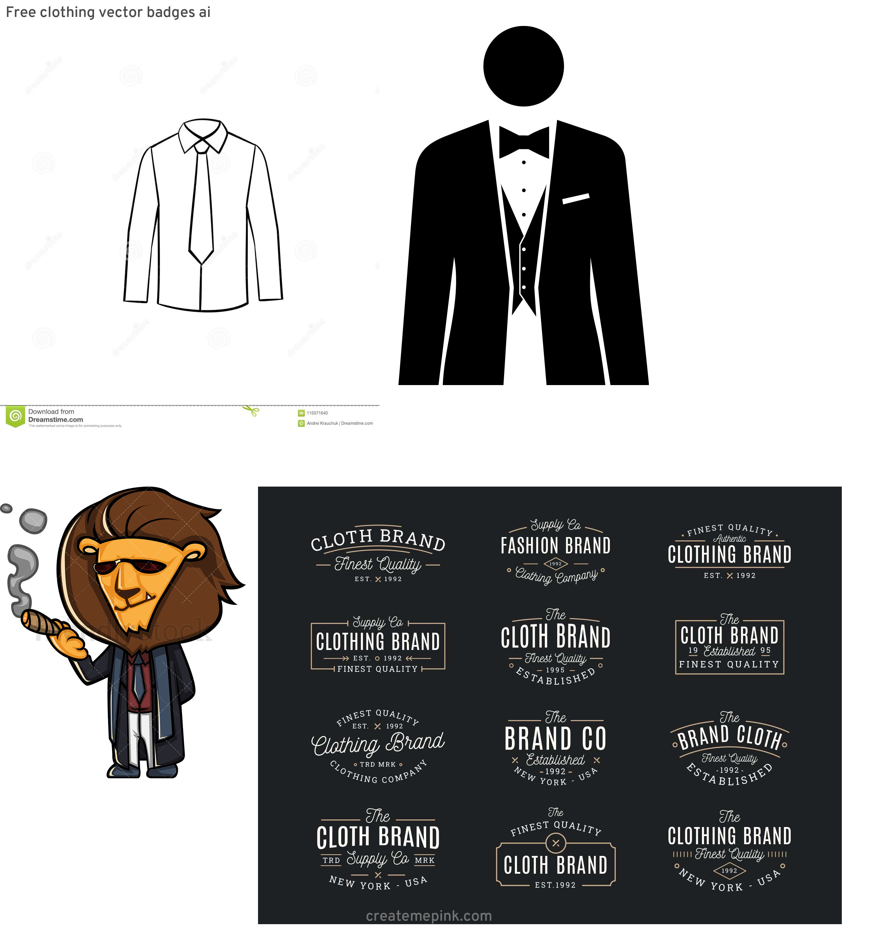 Vector Business Attire: Free Clothing Vector Badges Ai