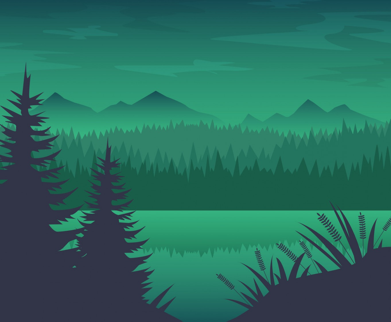 River Silhouette Vector Art: Free Forest River Background Vector