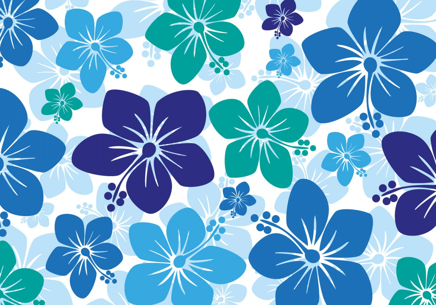 Hawaiian Pattern Vector: Free Hawaiian Hibiscus Background Vector