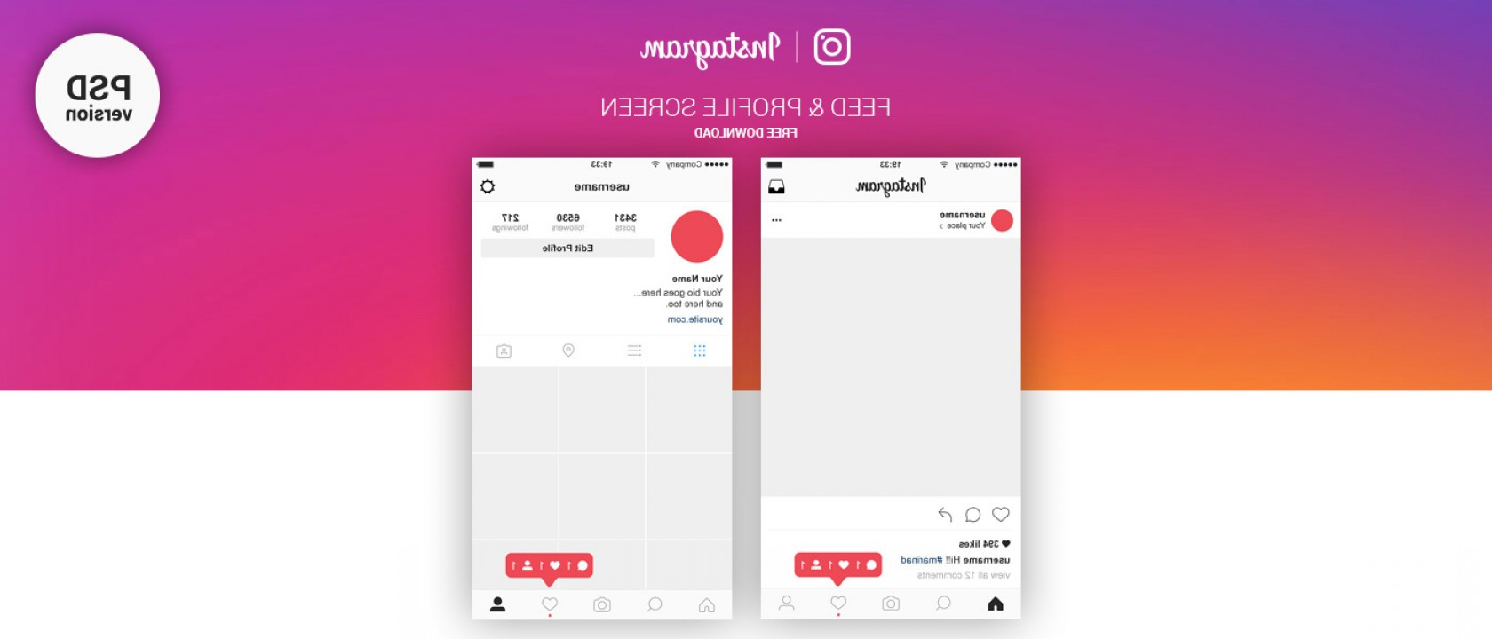 Official Instagram Logo Vector: Free Instagram Feed Profile Screen Psd Ui