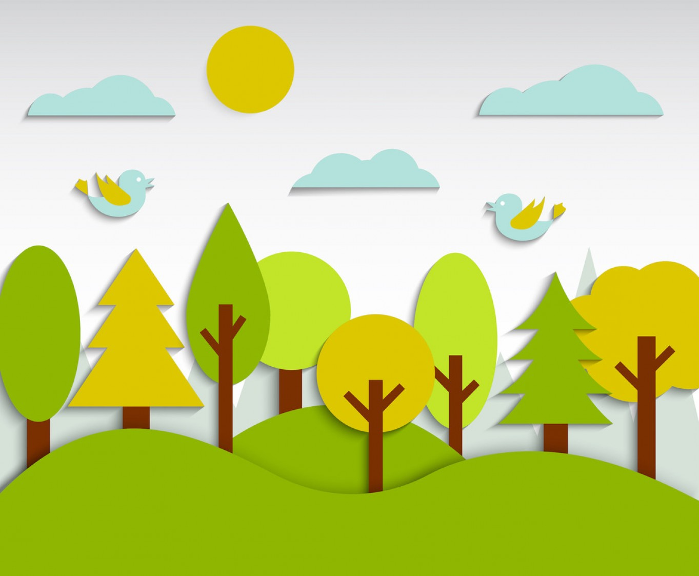 Flat Vector Art And Abstract Forest: Free Kids Forest Background Vector