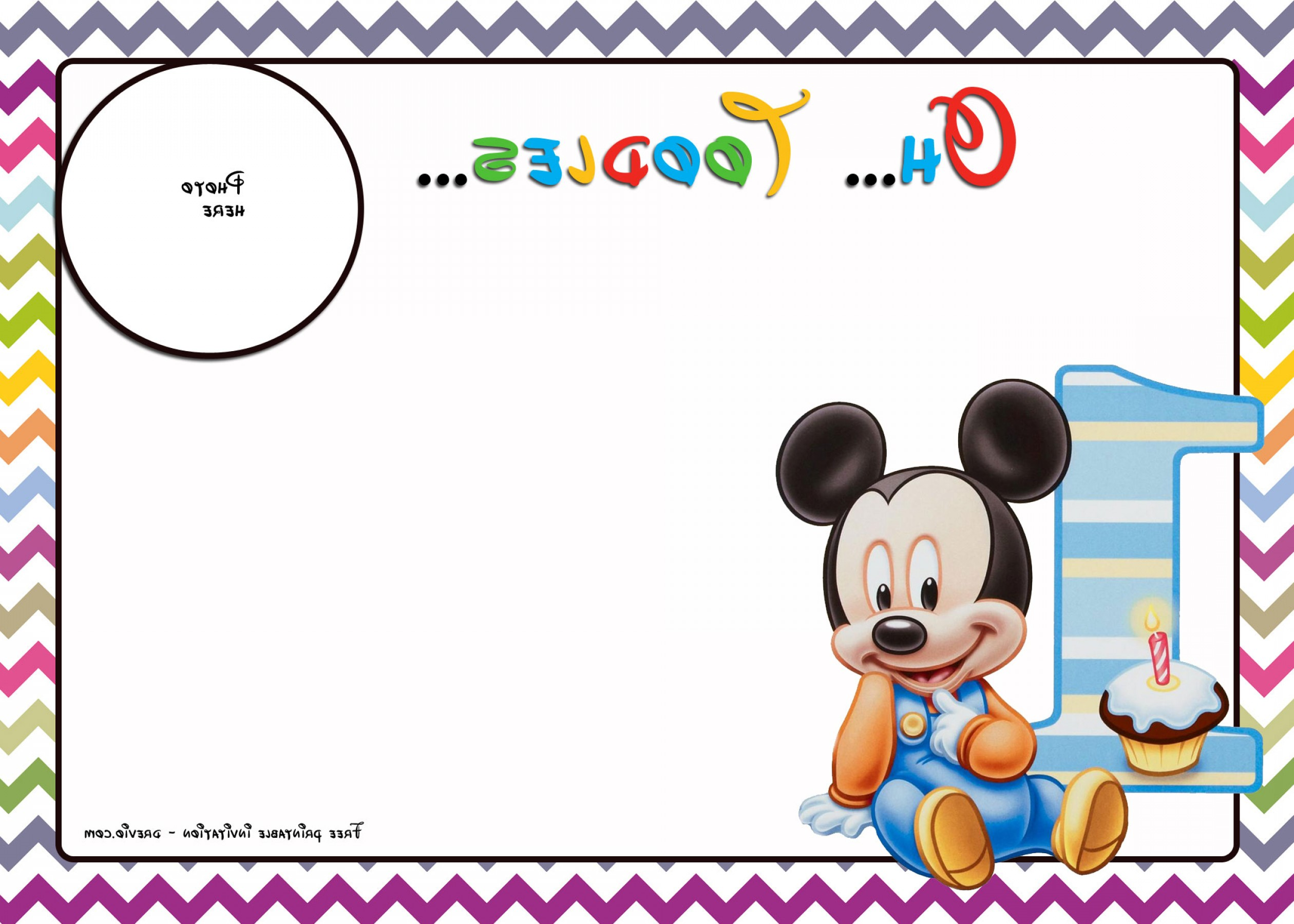 Mickey Vector: Free Mickey Mouse Birthday Invitations Template Chevron Ed Ffa
