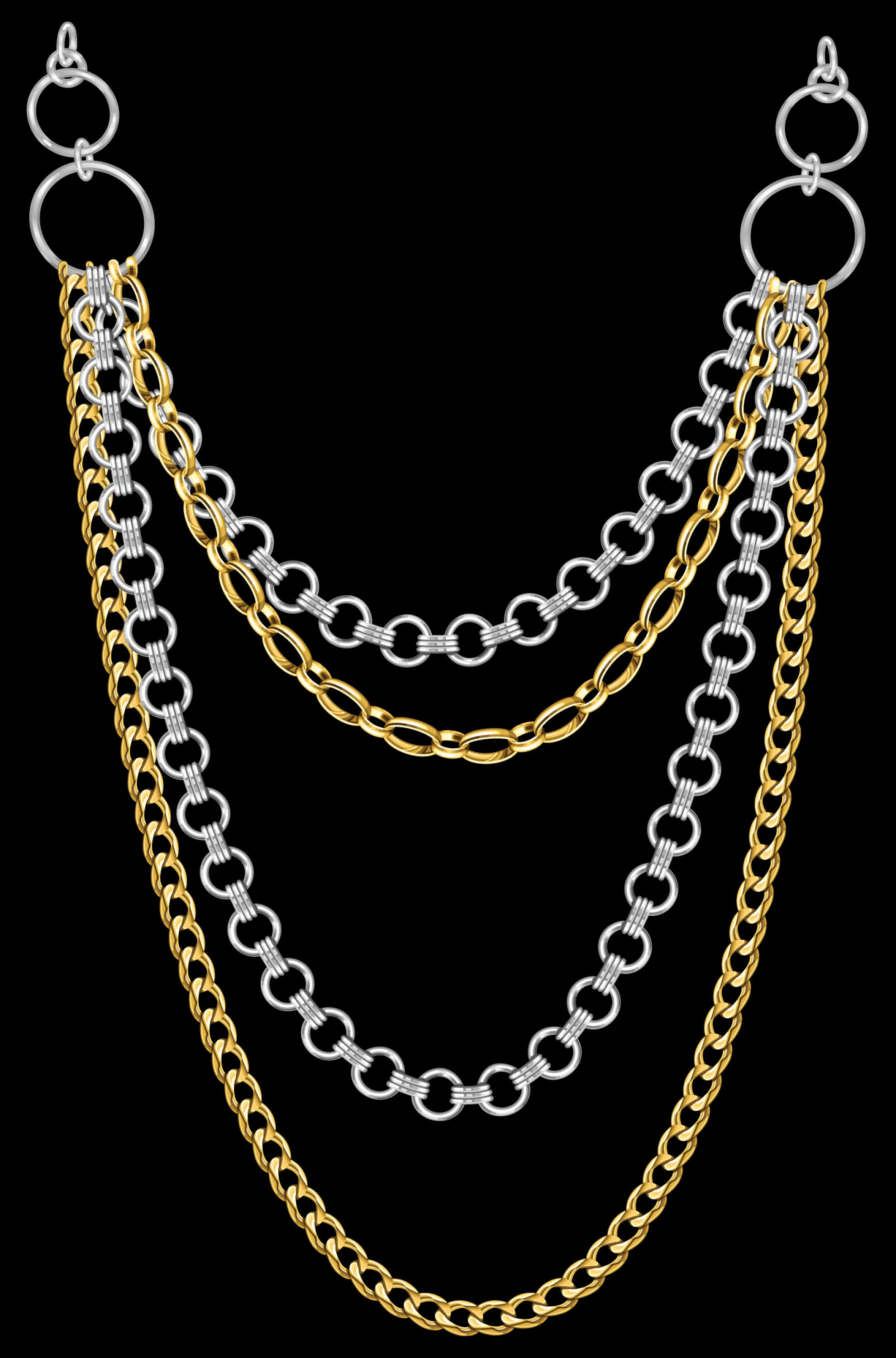 Necklace Vector Chain Grapicts: Free Multi Strand Jewelry Necklace Graphic