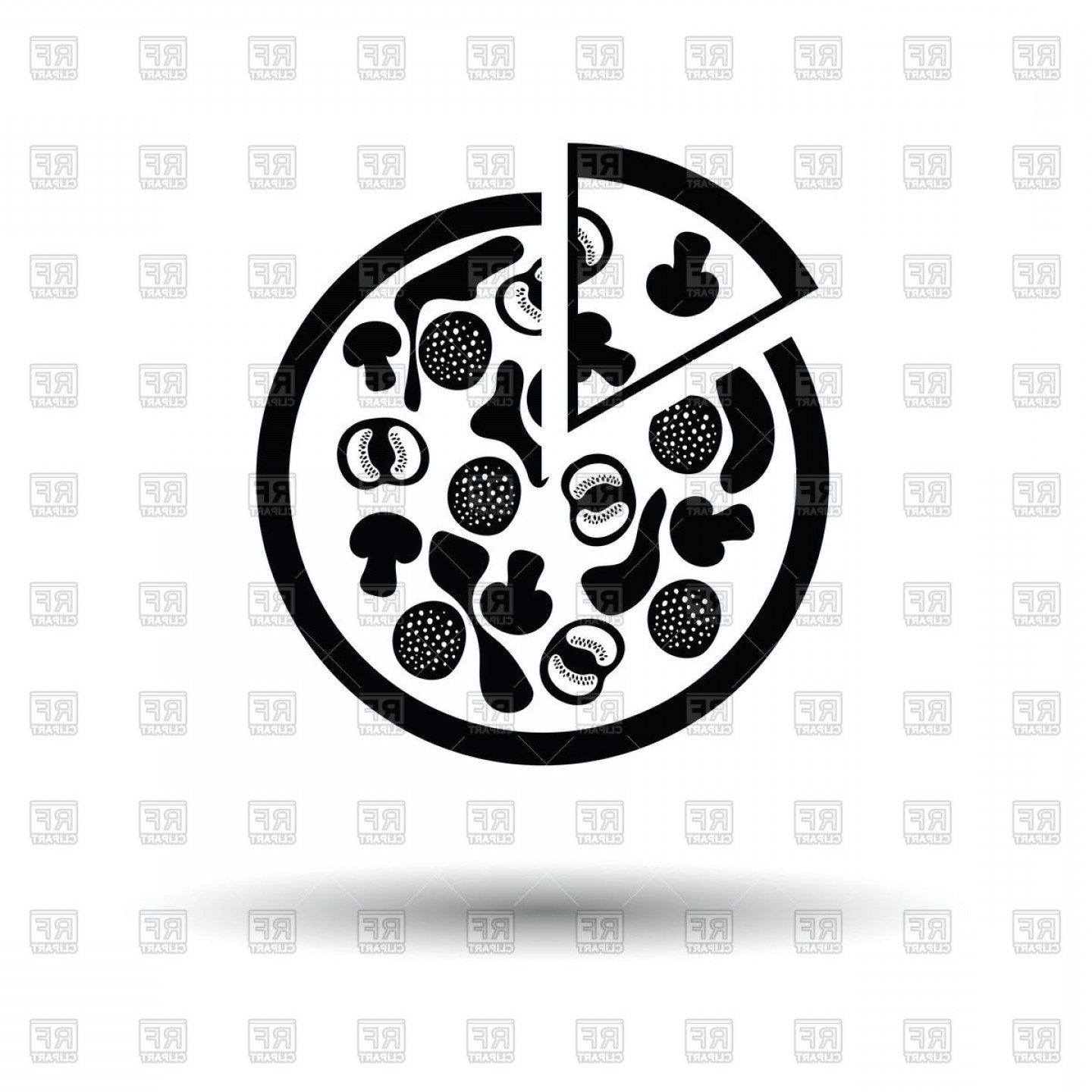 In Icon Stock Vector: Free Pizza Clipart New Pizza On Plate Icon Stock Vector Image