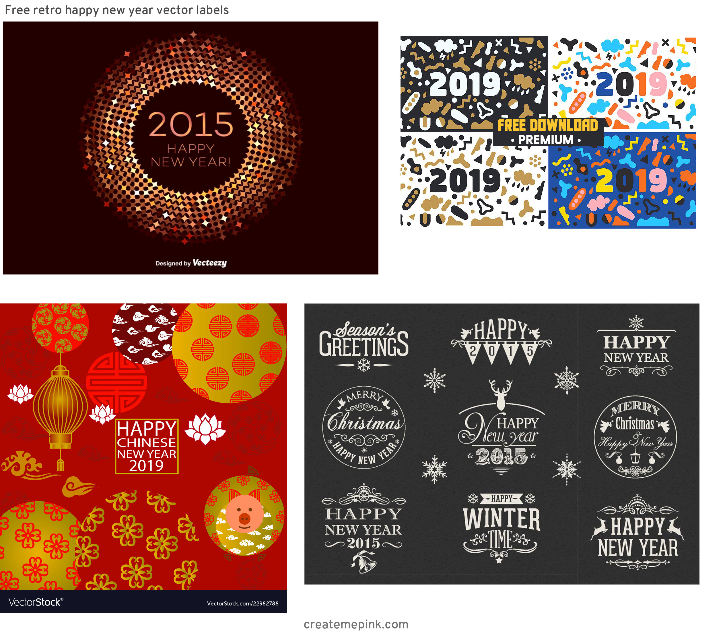 Free New Year Vector: Free Retro Happy New Year Vector Labels