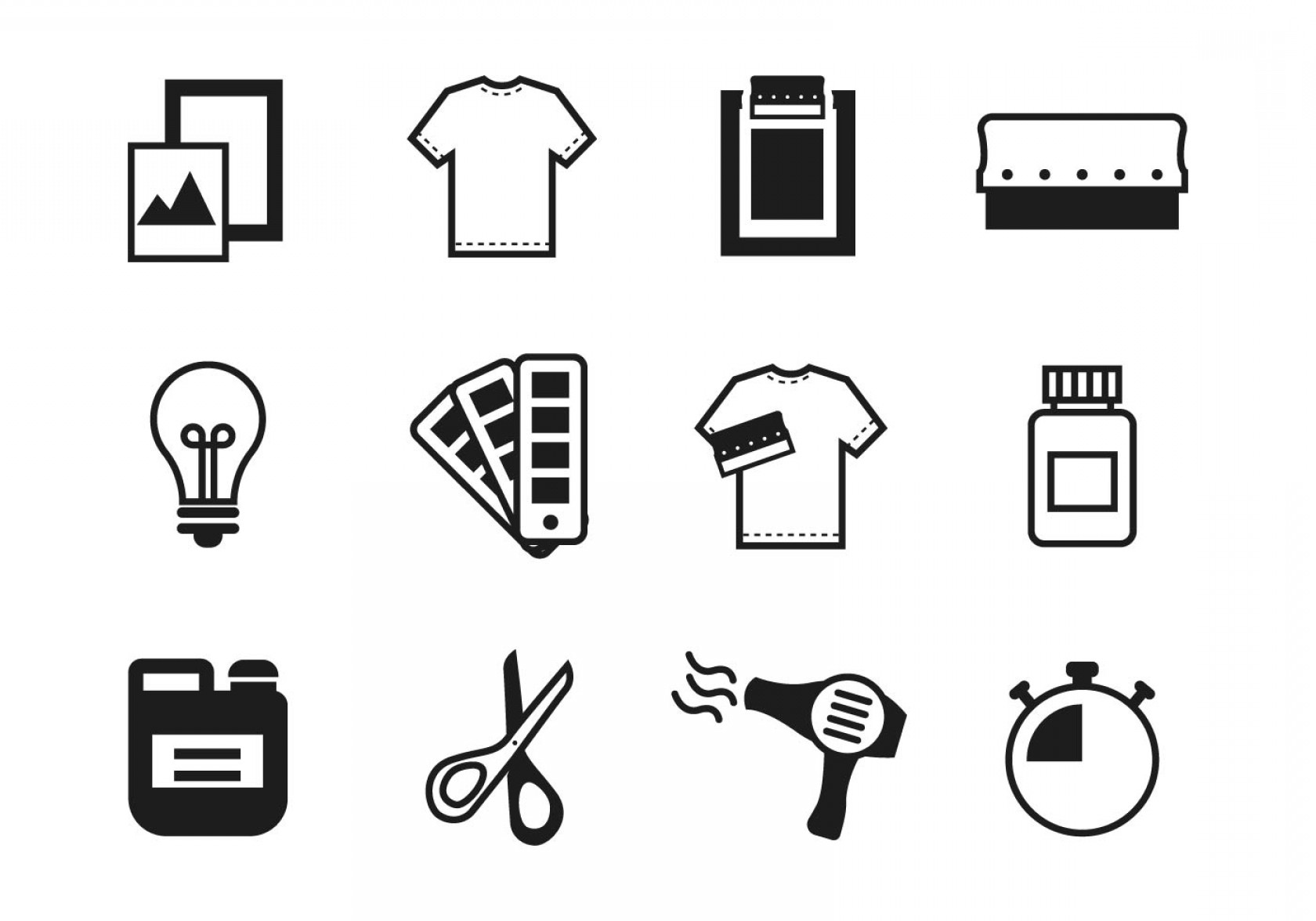 Screen Printing Equipment Vector: Free Screen Printing Icons Vector