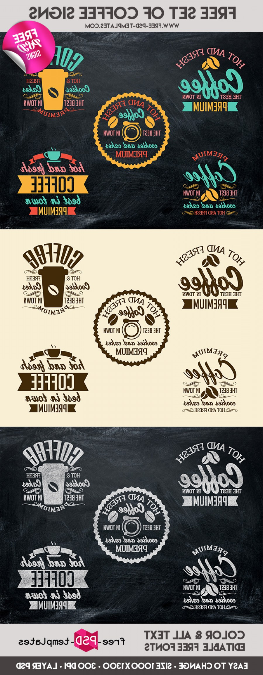 PSD Vector Vintage Cake: Free Set Of Coffee Signs In Psd