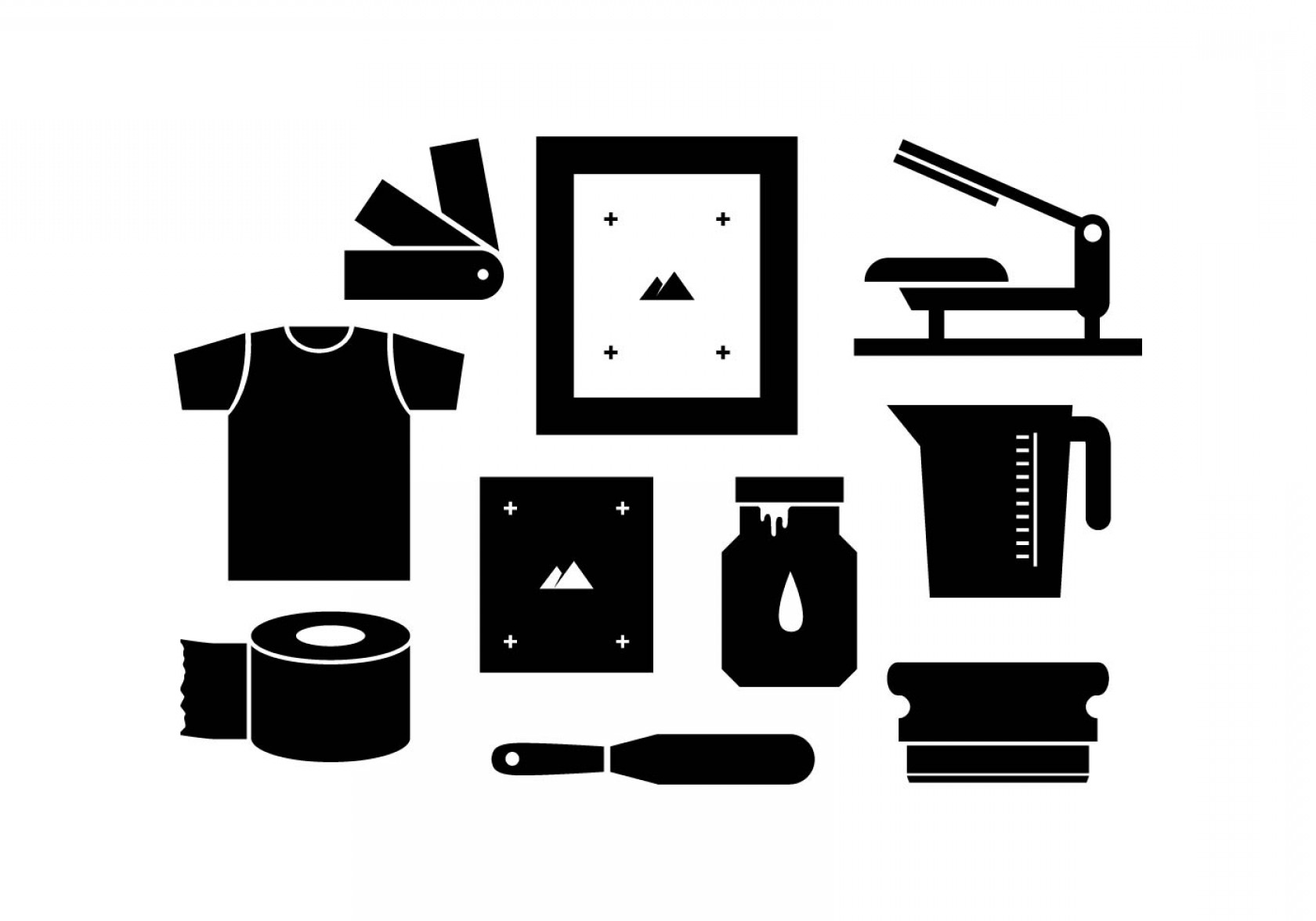 Screen Printing Equipment Vector: Free Silhouette Screen Printing Icon Vector