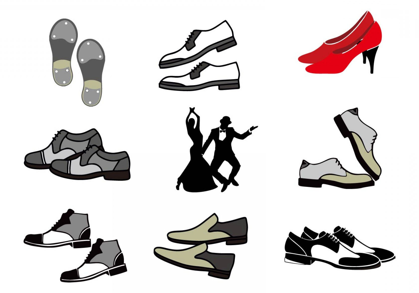 Vector Dancing Shoes: Free Tap Shoes With Dancing People Vector