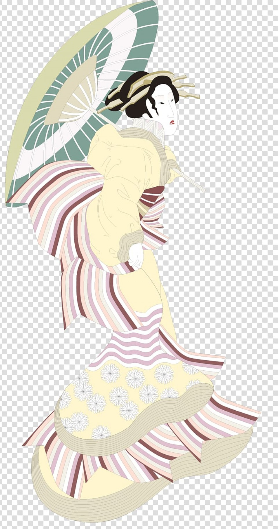Chinese Geisha Pin Up Vector Art: Free Transparent Background Png Clipart Bqqjo