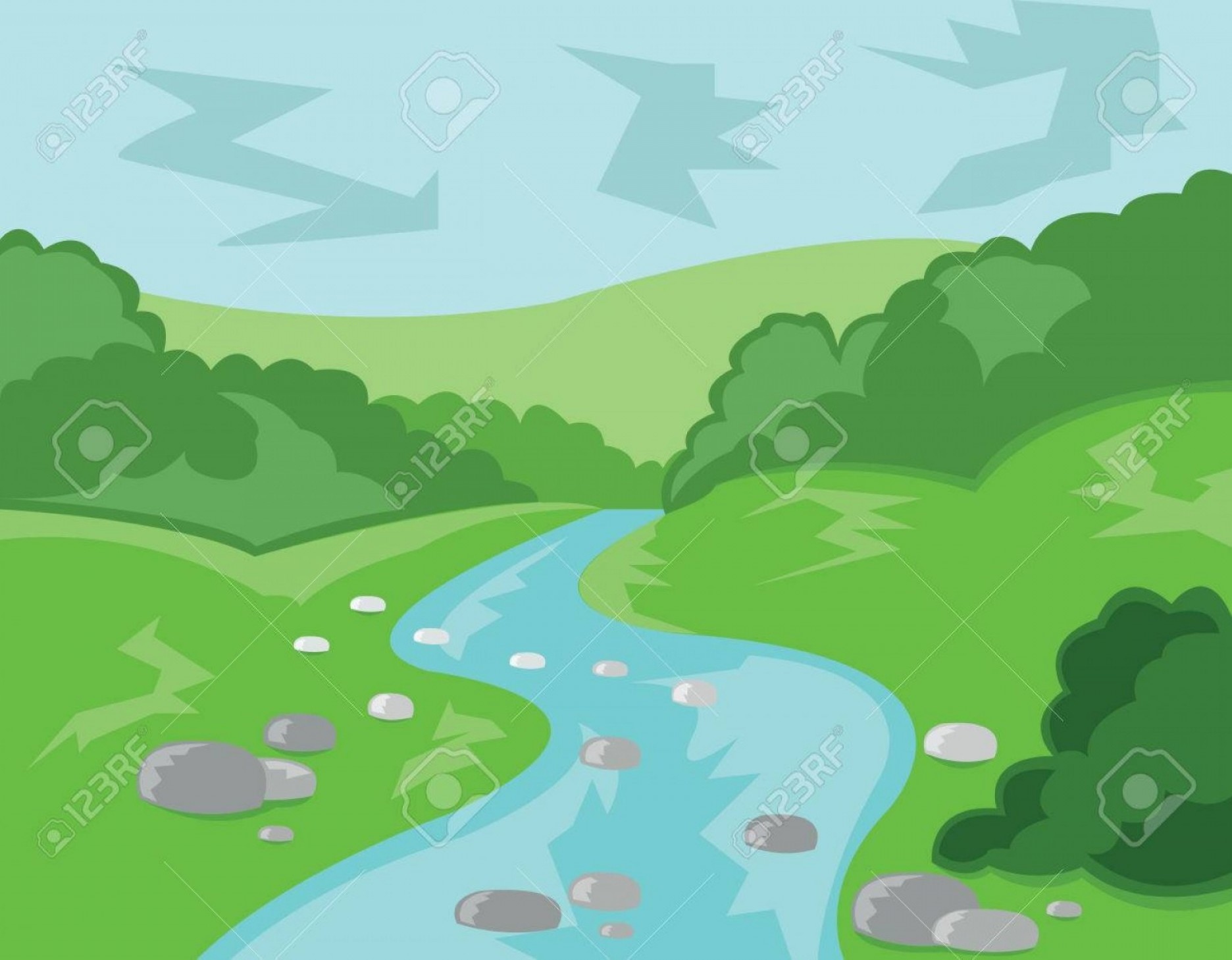 Hollywood Hills Vector: Free Vector Clip Art Of House With Stream