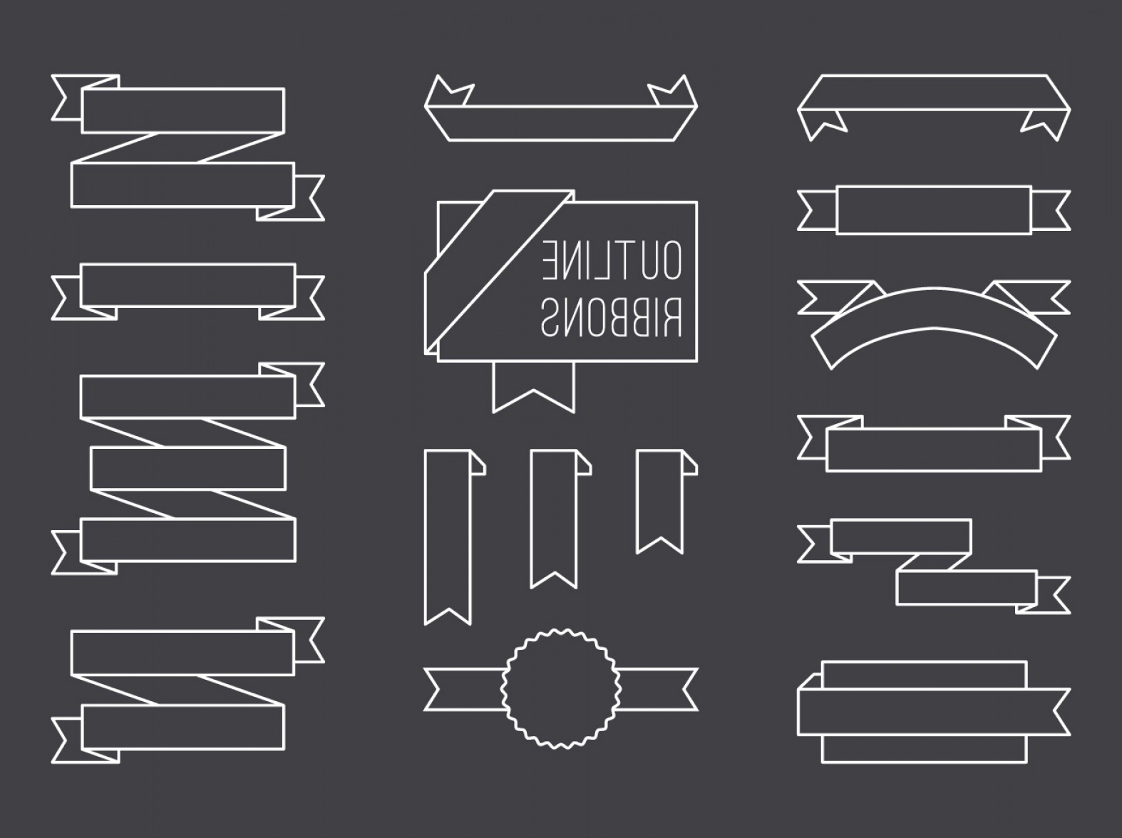 Hipster Vector Ribbon: Free Vector Outline Ribbon Set