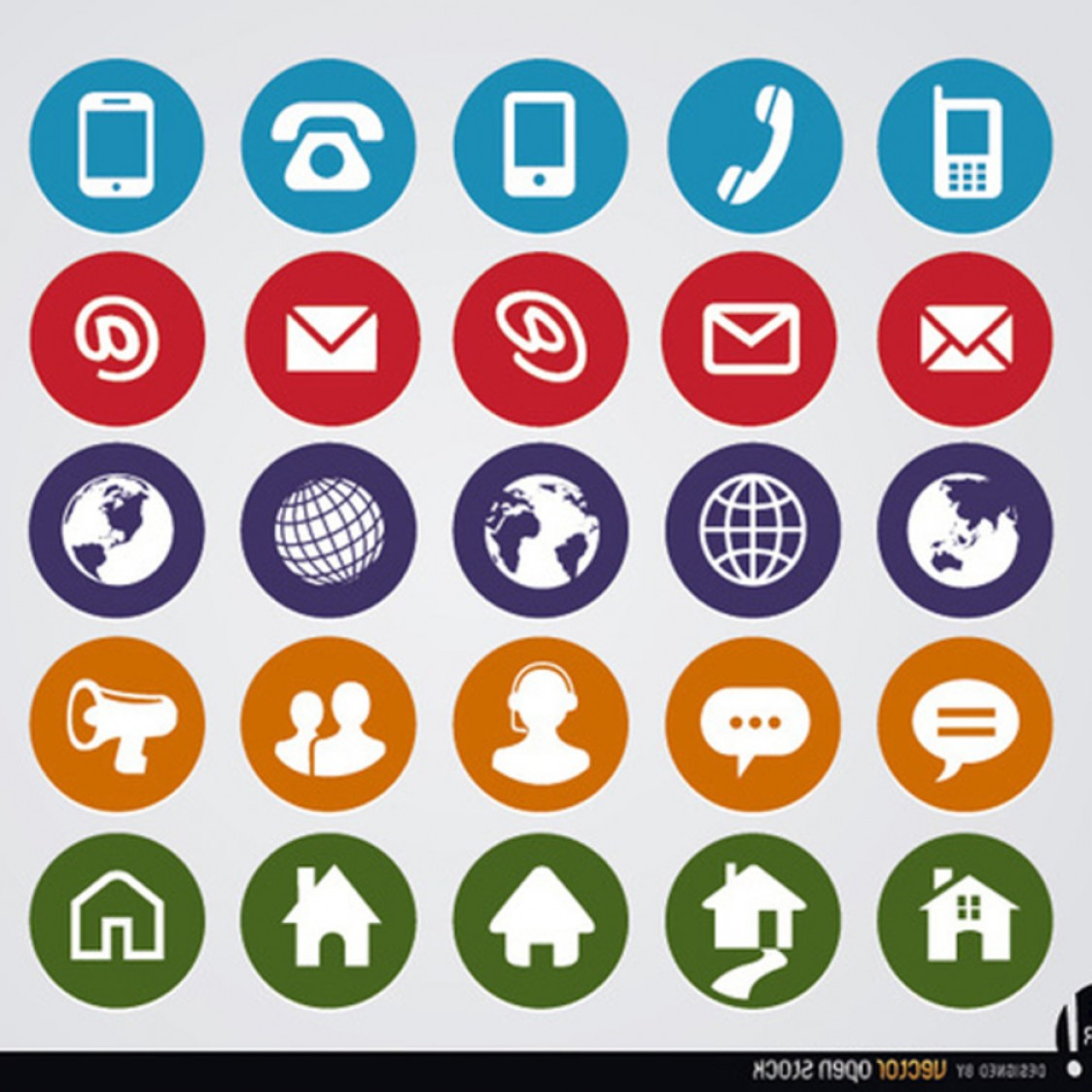 Contact Button Icons Vector Free: Free Vector Round Web Contact Icons
