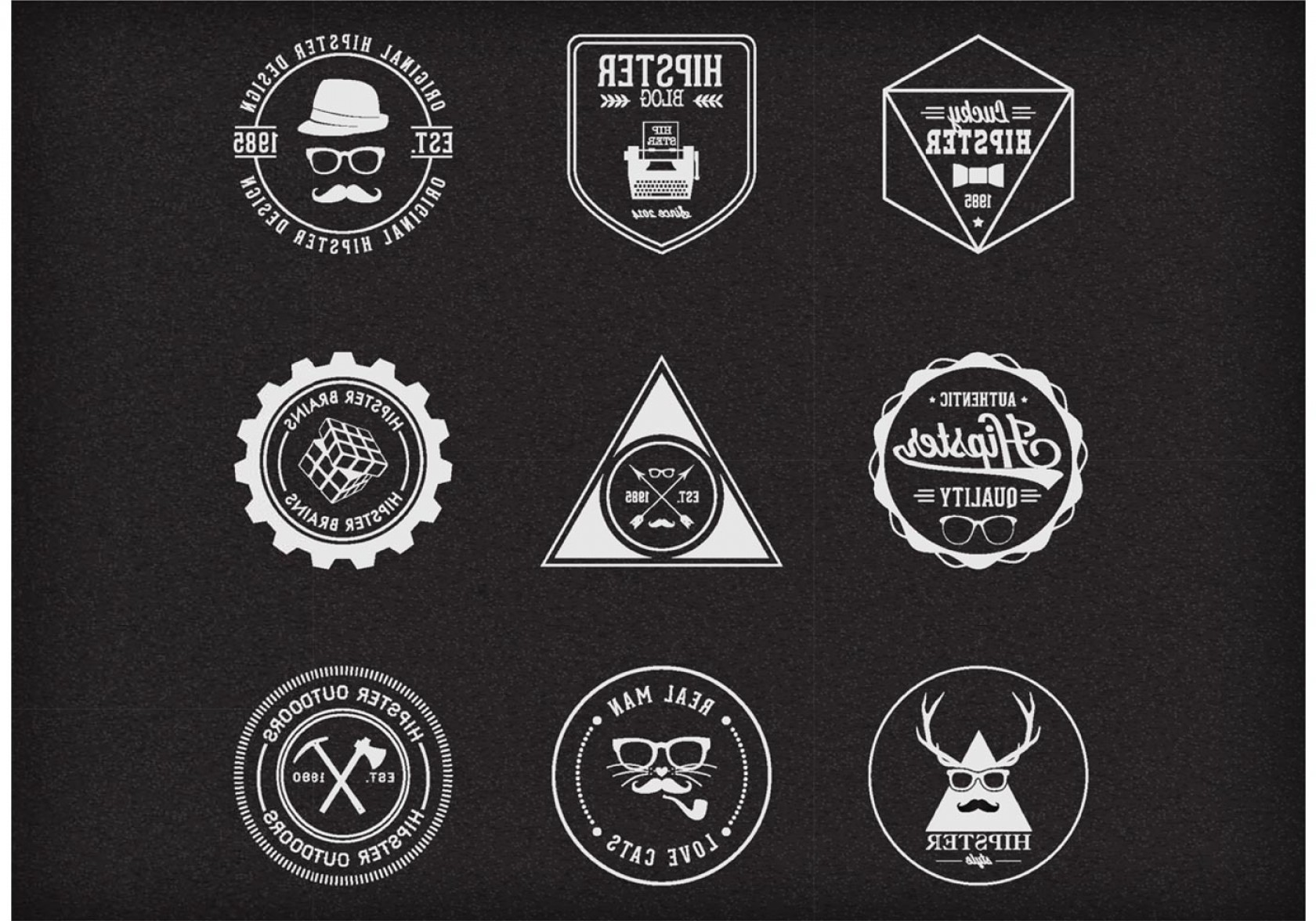Free Vector Hipster: Free Vector Trendy Hipster Badges