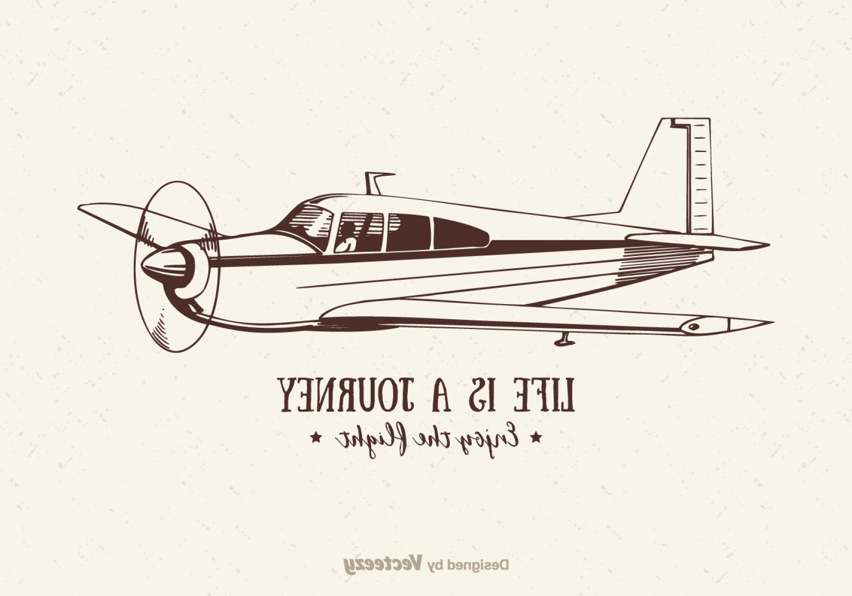 Old School Airplane Fighter Silhouette Vector: Free Vector Vintage Airplane Illustration