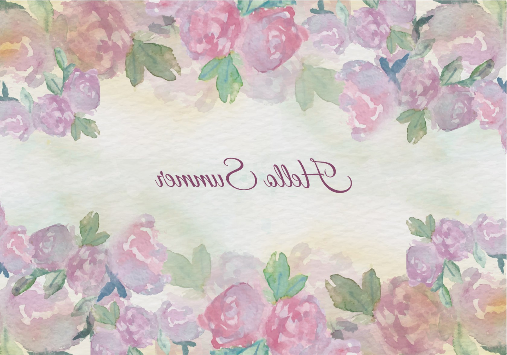 Summer Wreath Free Vector Watercolor: Free Vector Watercolor Summer Floral Vintage Illustration