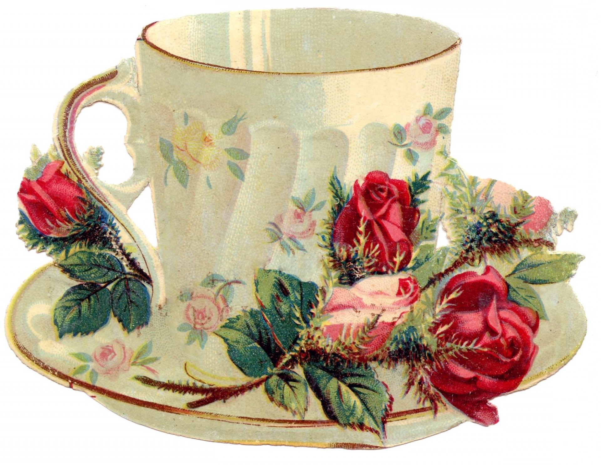 Vintage Tea Cup Vector: Free Vintage Images Teacup With Roses French