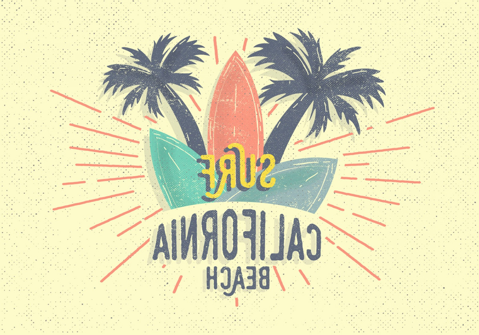 California Lifestyle Vector: Free Vintage Surf Vector Illustration