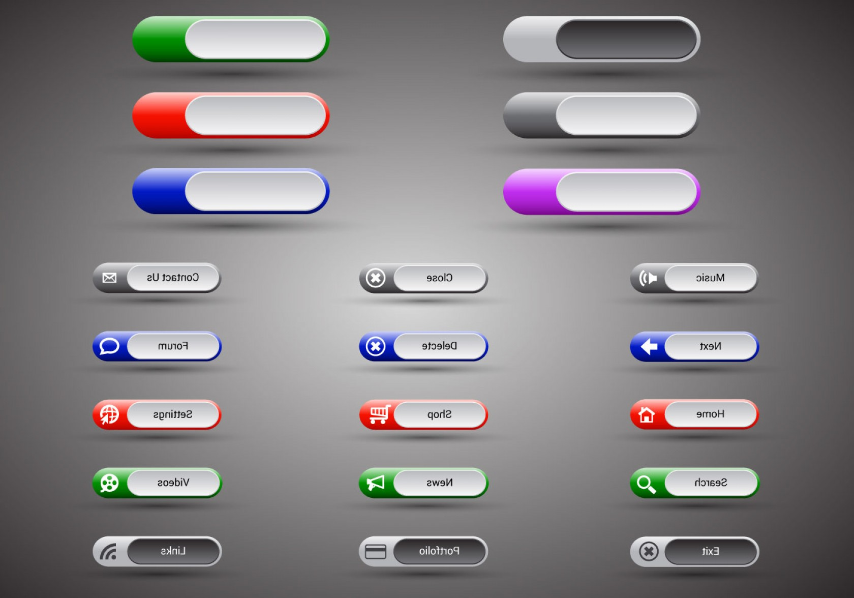 Web Buttons Vector: Free Web Buttons Set Vector