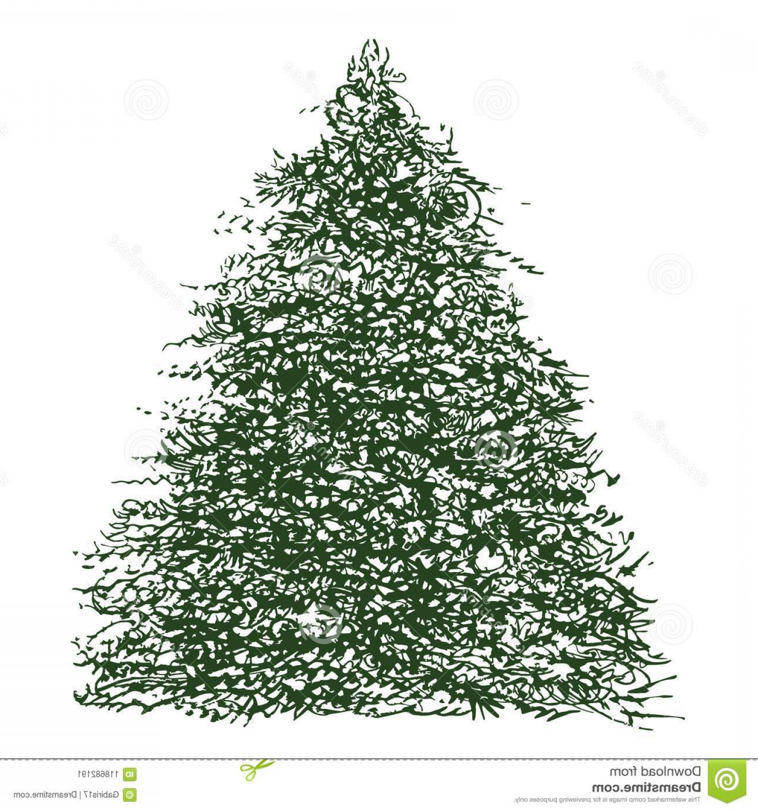 Vector-Based Grayscale Christmas: Freehand Brush Artwork Based Fir Tree Illustration Manually Generated Ink Triangular Remastered Digitally Deep Green Color Image
