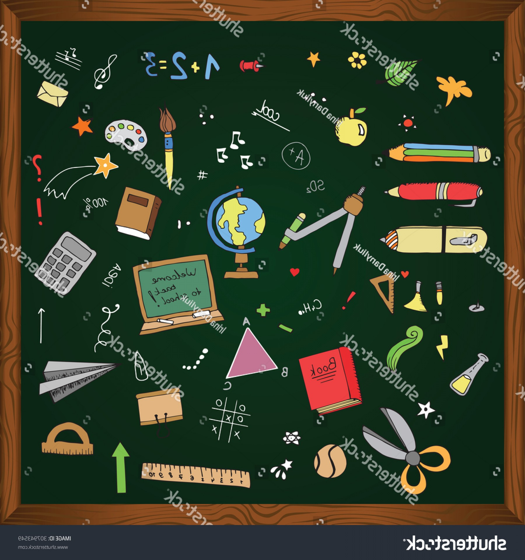 Individual School Supplies Vector: Freehand Drawing School Items Back Vector