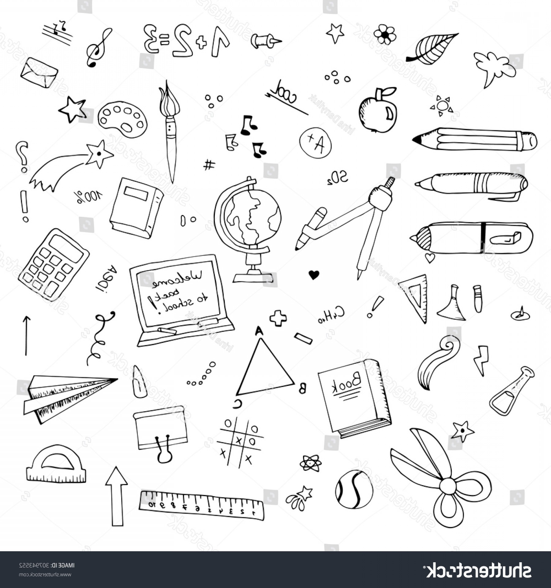 Individual School Supplies Vector: Freehand Drawing Vector Back School Supplies