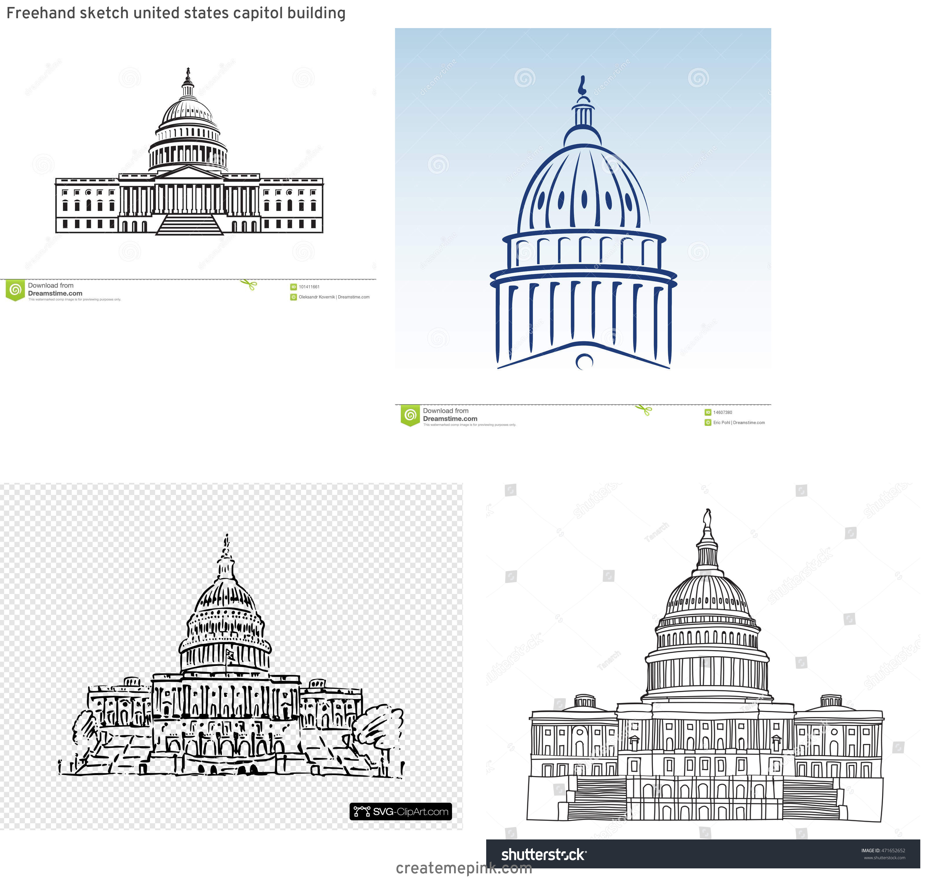US Capital Vector Line Drawing: Freehand Sketch United States Capitol Building