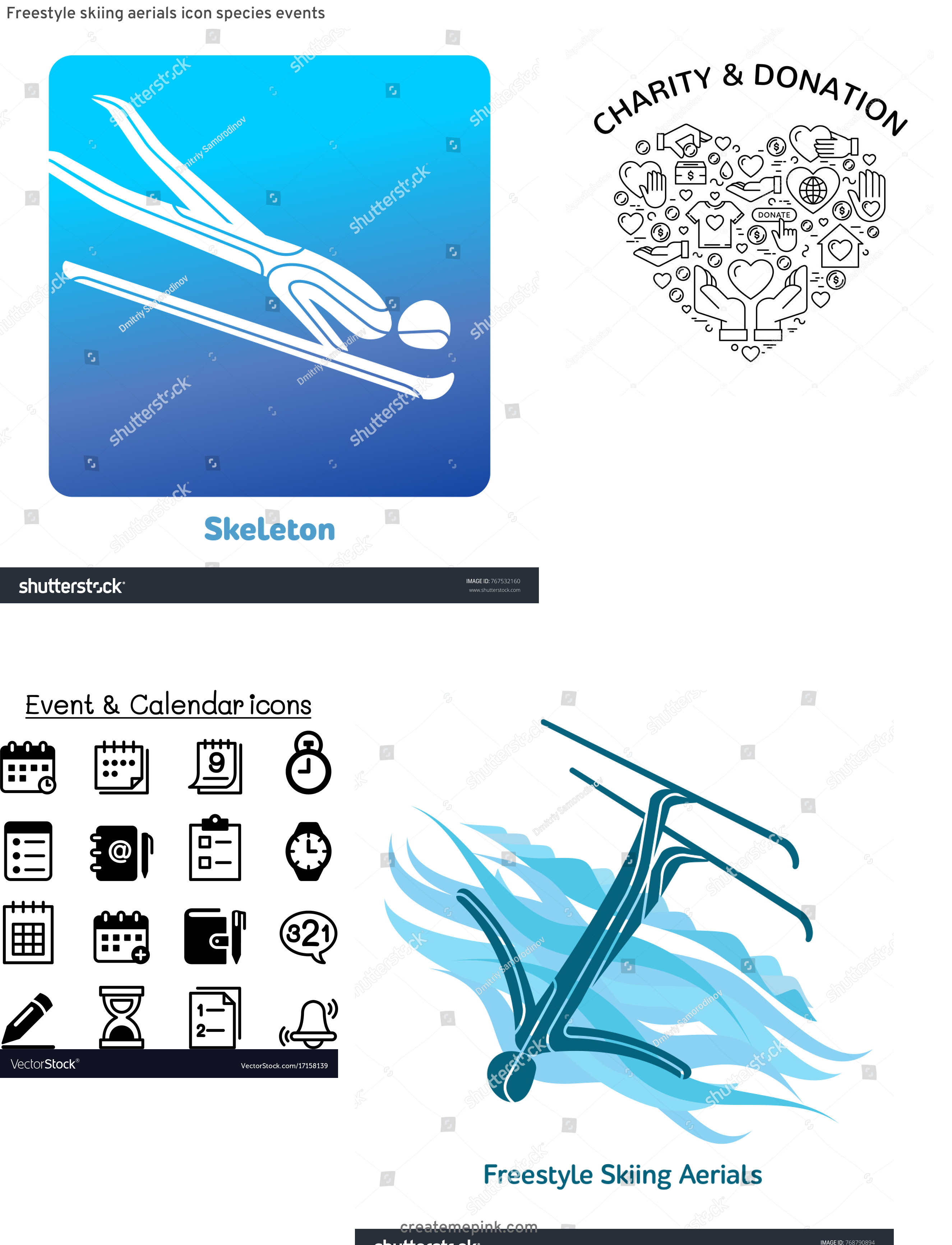 Vector Pictograms Events: Freestyle Skiing Aerials Icon Species Events
