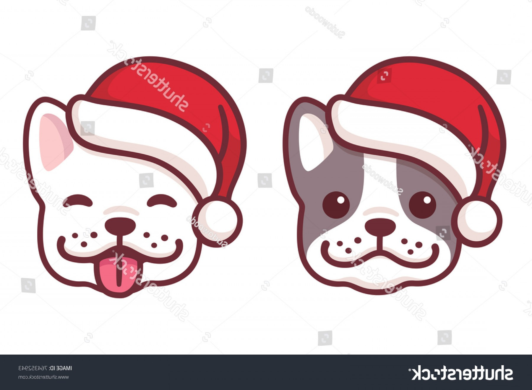 Vector Smiling Bulldog: French Bulldog Puppy Faces Santa Hats