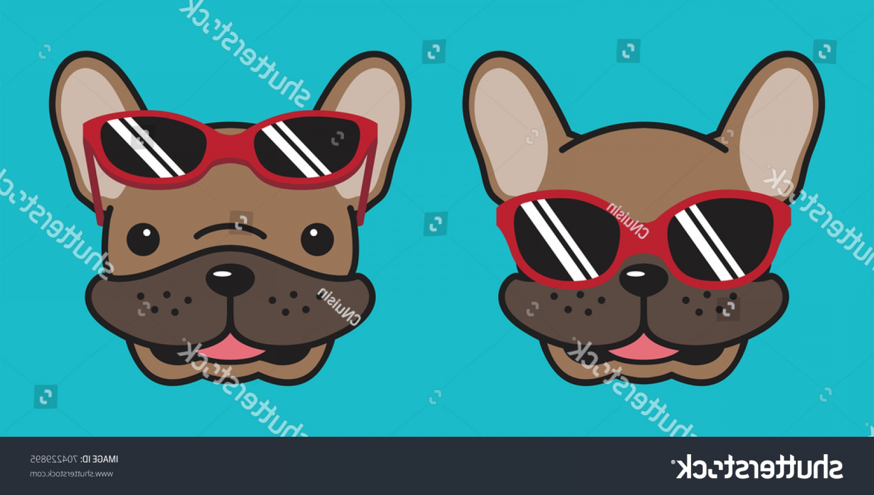 Vector Smiling Bulldog: French Bulldog Smile Sunglasses Dog Head