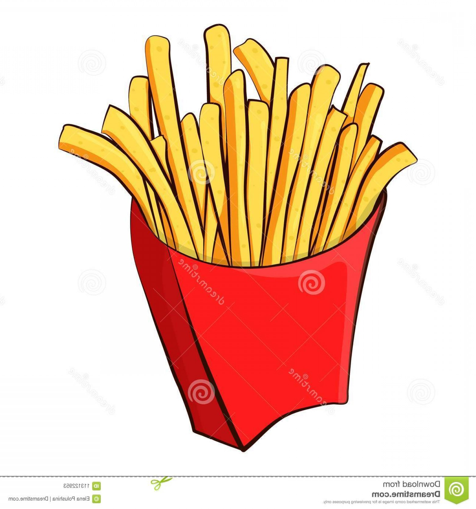 Fries Vector: French Fries Vector Illustration White Background Image