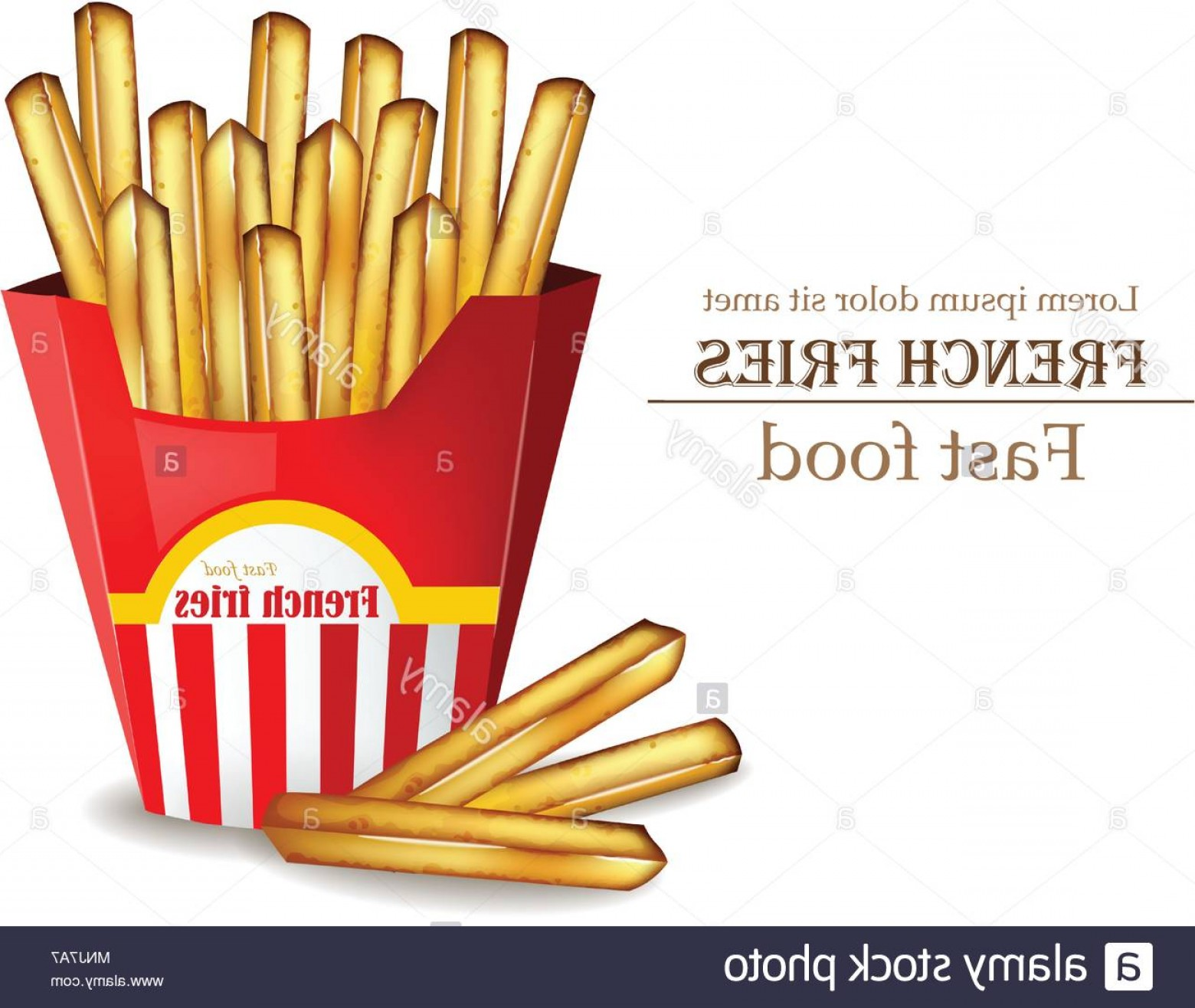 Fries Vector: French Fries Vector Realistic Fast Food Template Detailed D Illustration Image