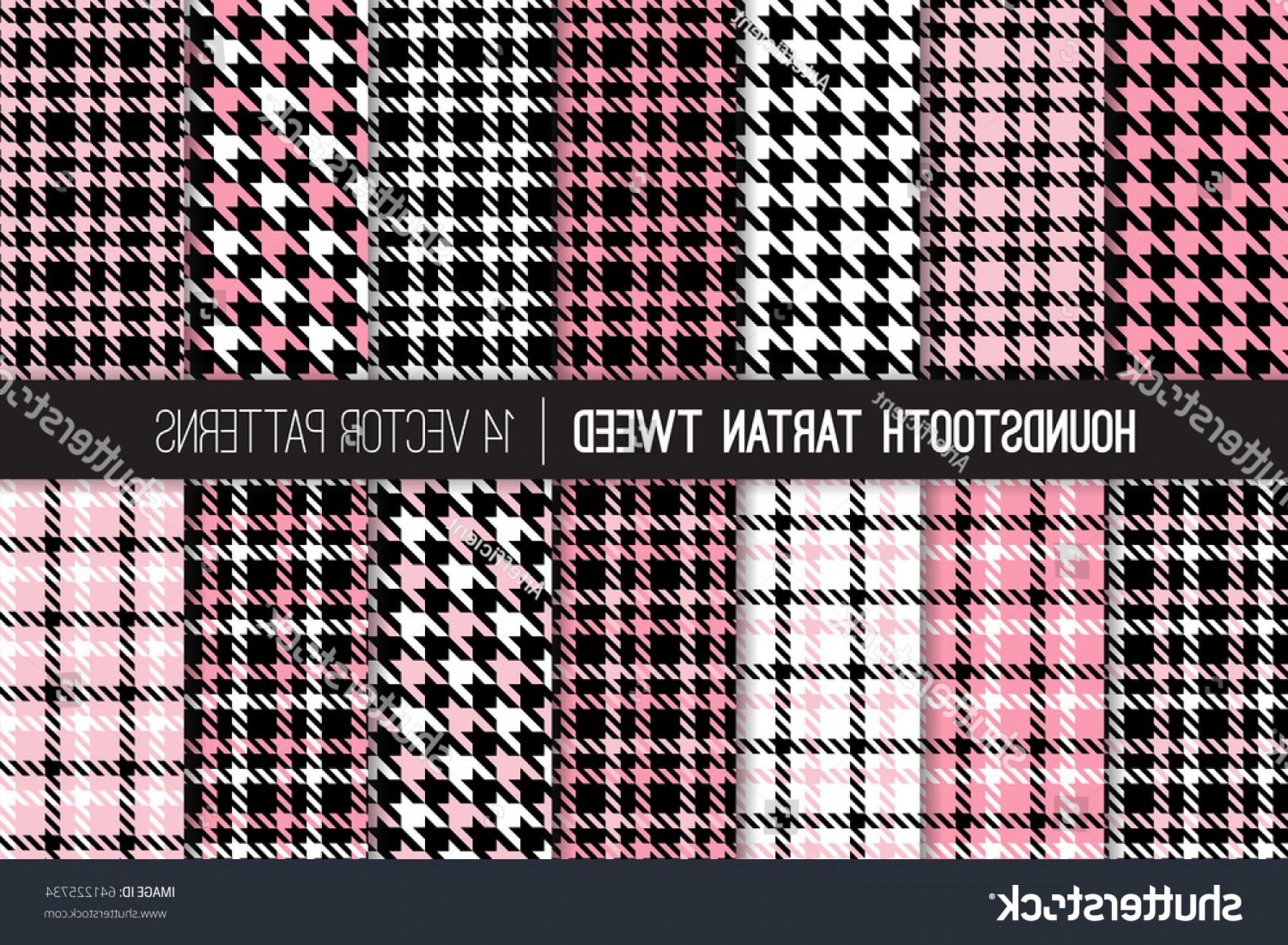 Pink And Black Houndstooth Vector: French Pink Black White Houndstooth Tartan
