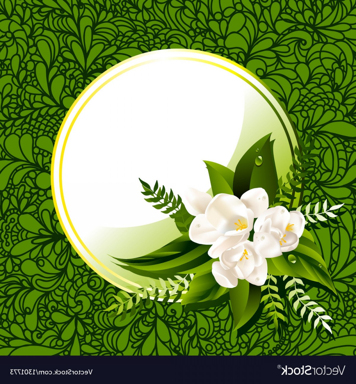 Green Flower Vector Designs: Fresh Green Abstract Spring Background With Flower Vector