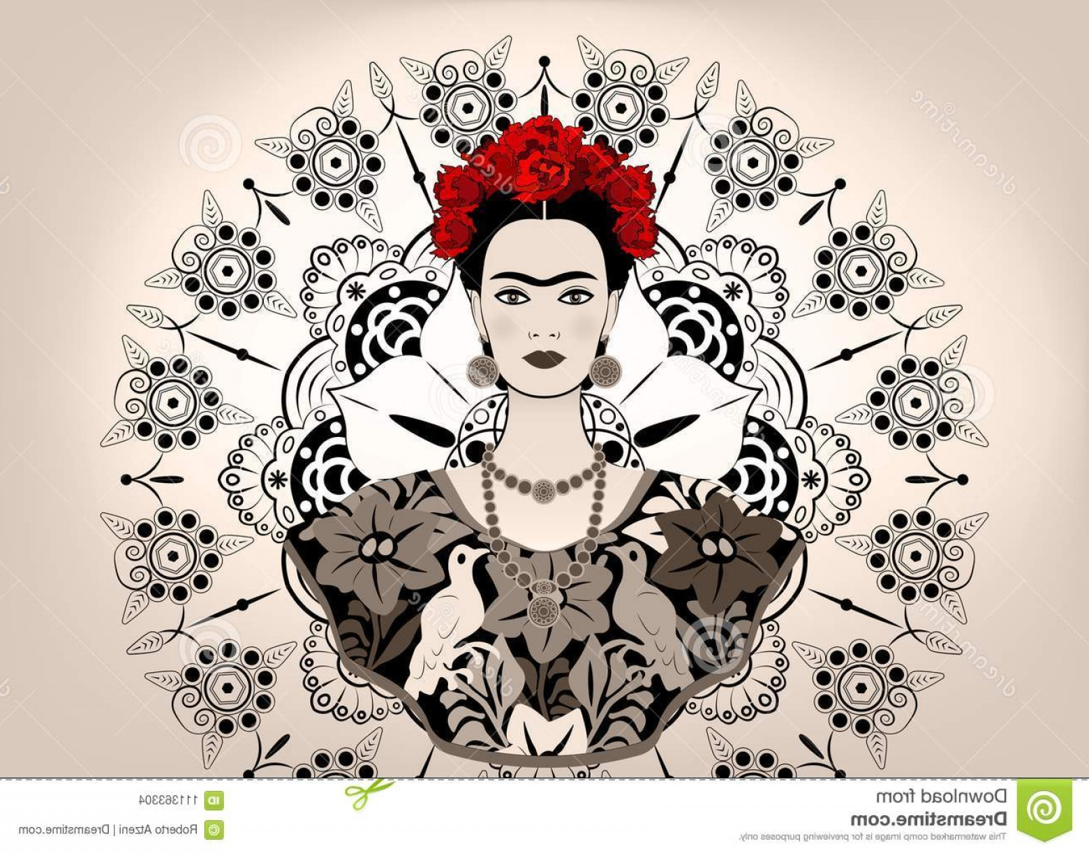 Frida Black And White Vector: Frida Kahlo Vector Portrait Young Beautiful Mexican Woman Traditional Hairstyle Crafts Jewelry Dress Isolated Image