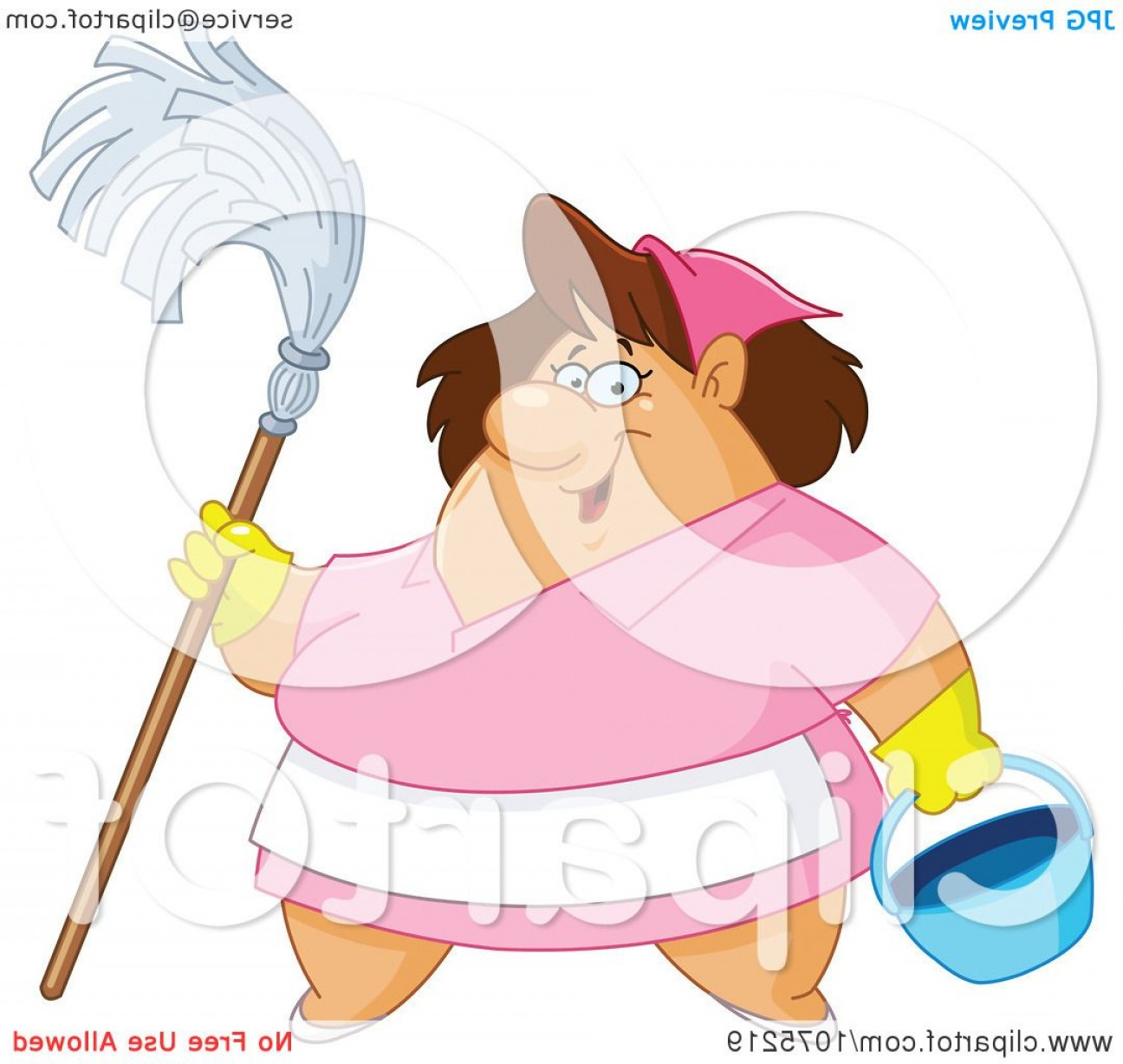 Vector Mop Flower: Friendly Chubby Maid Holding A Mop And Bucket
