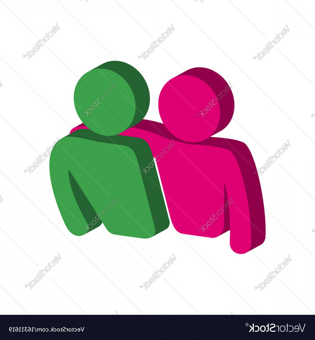 Friendship Symbol Vector: Friends Friendship Symbol Flat Isometric Icon Or Vector