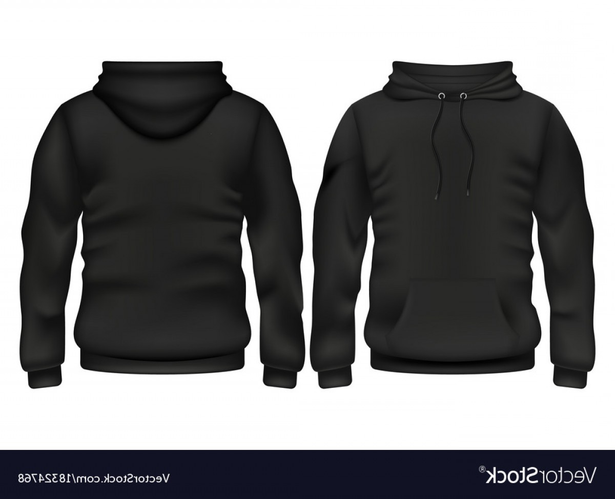 Sweatshirt Vector Template: Front And Back Black Hoodie Template Vector
