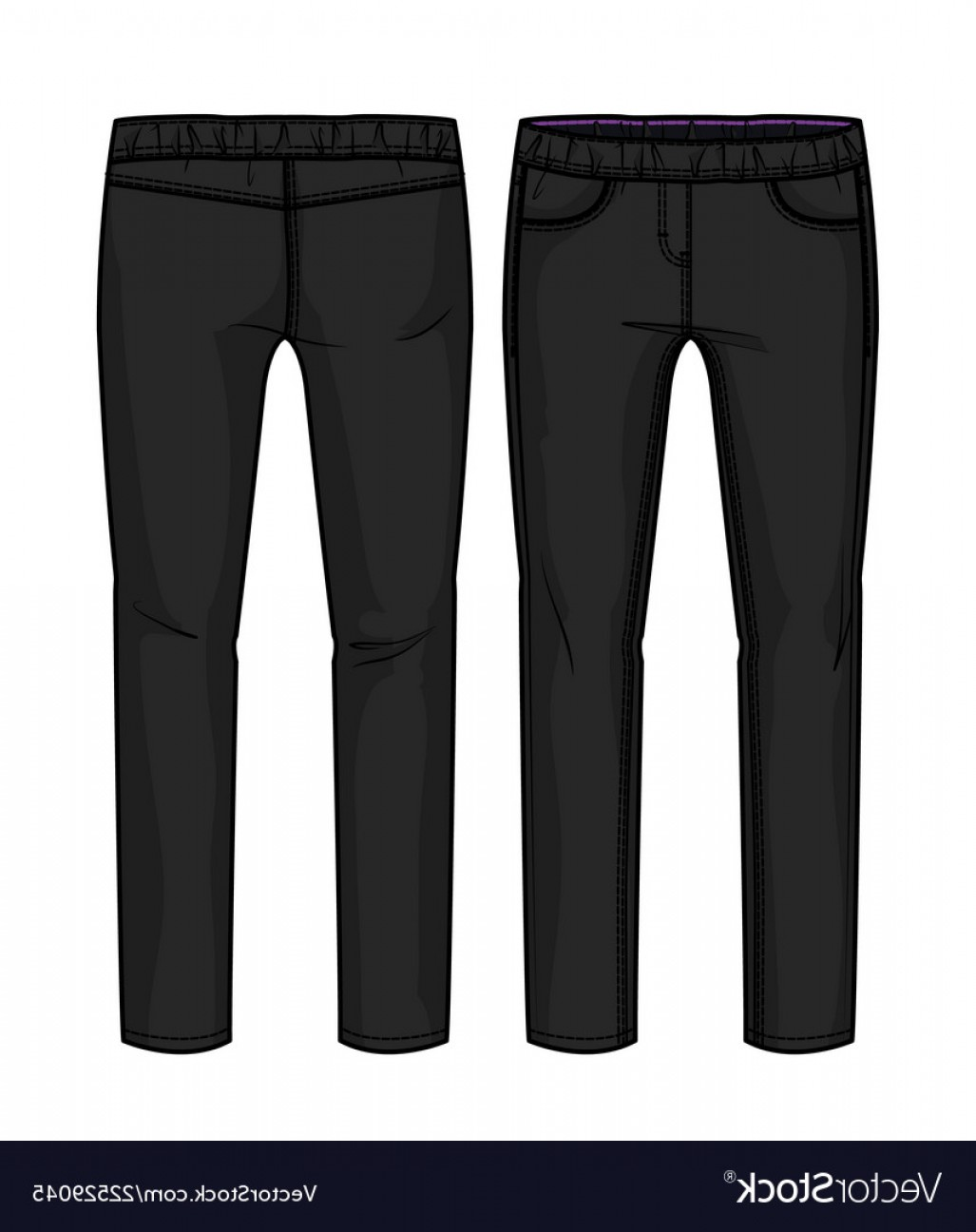 Vector Black Jeans: Front And Back View Of Black Pants With Elastic Ba Vector