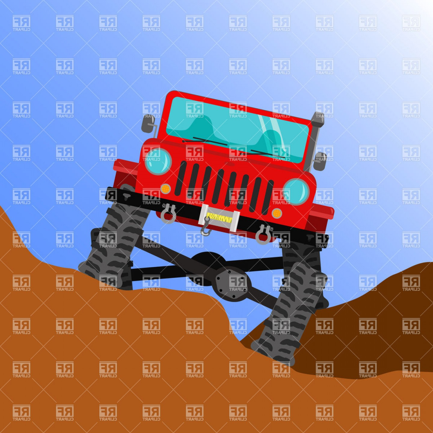 Jeep Off-Road Vector Art: Front View Modified Off Road Vehicle On Big Wheels Vector Clipart